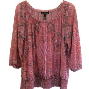 INC Coral Paisley Blouse Wear On or Off Shoulder